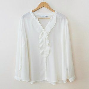 Susan Graver White Ruffle Front Button Down